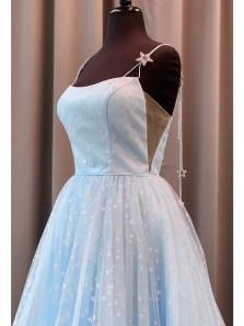 Princess A-Line Scoop Neck Spaghetti Straps Stars Tulle Long Prom Dresses,Graduation Party Dresses