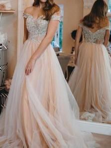 Elegant A-Line Plus Size Off the Shoulder Tulle Lace Prom Dresses