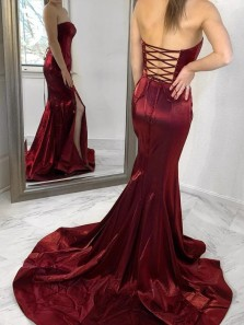 Sexy Mermaid Strapless Lace up Back Burgundy Satin Long Prom Evening Party Dresses,Formal Dresses 2020