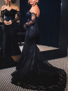 Charming Mermaid Off the Shoulder Long Sleeve Black Lace Prom Dresses,Formal Party Dresses