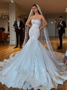 Gorgeous Mermaid Sweetheart Cross Back Tulle Wedding Dresses with Lace Appliques