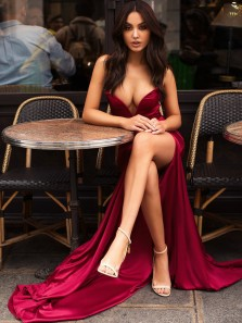 Sexy Mermaid Sweetheart Open Back Dark Red Elastic Satin Long Prom Dresses with Side Slit,Formal Party Dresses