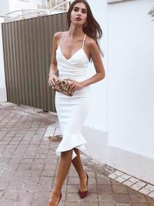 Sexy V Neck Body con Spaghetti Straps White Elastic Satin Short Prom Dresses with Ruffle ,Evening Party Dresses