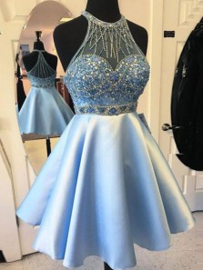 Cute A Line Halter Light Blue Short Prom Dress, Homecoming Dress With Beading