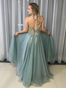 Marvelous A-Line V Neck Open Back Tulle Long Prom Evening Dresses with Beading