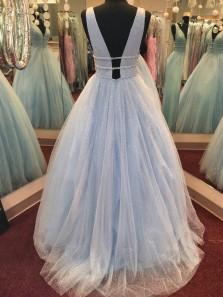 Charming A-Line V Neck Open Back Light Blue Tulle Long Prom Dresses,Quinceanera Dresses