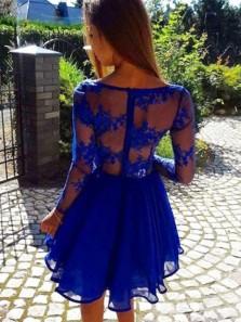 Sexy A Line V-Neck Royal Blue Lace Short Prom Dress,Long Sleeve Homecoming Dress