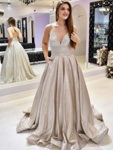 Ball Gown V Neck Backless Spaghetti Straps Champagne Sparkly Satin Long Prom Dresses,Formal Evening Party Dresses