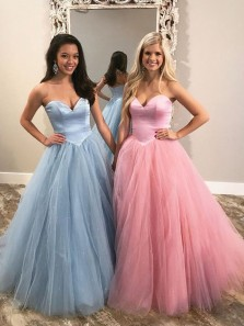 Stunning Ball Gown Sweetheart Open Back Blue Pink Tulle Long Prom Dresses,Formal Evening Dresses