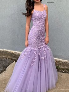 Stunning Mermaid Scoop Neck Cross Back Lavender Lace Long Prom Dresses,Formal Evening Party Dresses