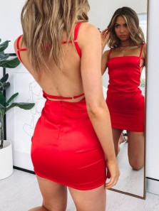 Sexy Body con Backless Red Mini Homecoming Dresses,Evening Party Dresses