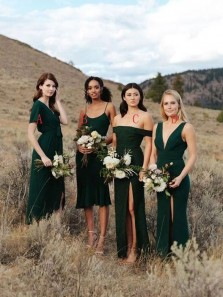 Simple Sheath Off the Shoulder Hunter Green Bridesmaid Dresses with High Split