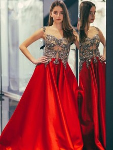 Charming A-Line Round Neck Cap Sleeve Red Satin Long Prom Evening Dresses with Beading