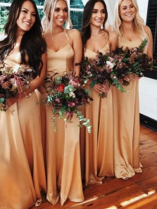 Simple A-Line V Neck Spaghetti Straps Gold Satin Long Bridesmaid Dresses with Pockets,Evening Party Dresses