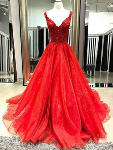 Gorgeous A-Line V Neck Open Back Red Organza Long Prom Dresses with Lace,Formal Prom Gown