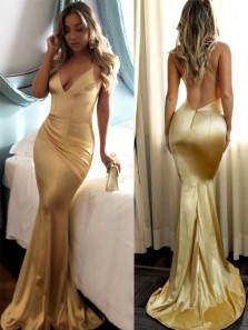 Sexy Mermaid V Neck Backless Gold Elastic Satin Long Prom Dresses,Evening Party Dresses