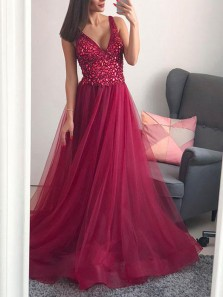 Luxurious A-Line V Neck Open Back Rose Red Tulle Long Prom Dresses with Beading,Evening Party Dresses