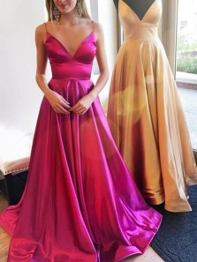 Cheap A-Line V Neck Spaghetti Straps Fuchsia Satin Long Prom Dresses with Pockets,Formal Evening Party Dresses