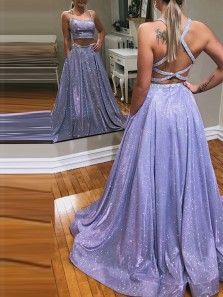 Gorgeous Two Piece Scoop Neck Cross Back Lavender Sequins Satin Long Prom Dresses with Pockets,Fomral Evening Party Dresses