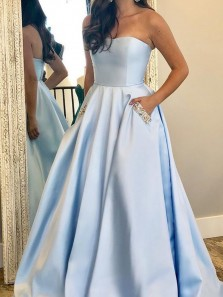 A-Line Sweetheart Open Back Light Blue Satin Long Prom Dresses with Beaded Pockets