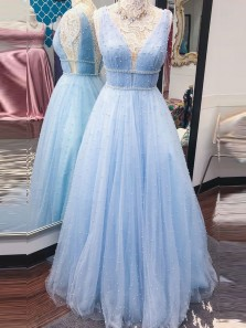 Gorgeous A-Line V Neck Open Back Sky Blue Tulle Long Prom Dresses with Pearls,Formal Evening Party Dresses
