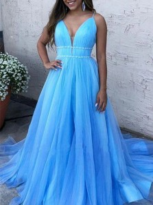 Lovely A-Line V Neck Spaghetti Straps Blue Tulle Long Prom Evening Dresses with Beading