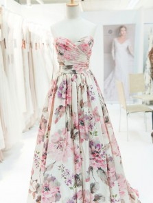 New arrival A-Line Sweetheart Floral Printed Satin Long Prom Evening Dresses,Formal Party Dresses 2020