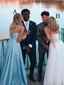Charming A-Line V Neck Blue Satin Long Prom Dresses with Side Split