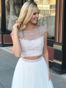Two Piece Scoop Cap Sleeve Long Prom Dress, White Flowy Long Prom Dress With Beading