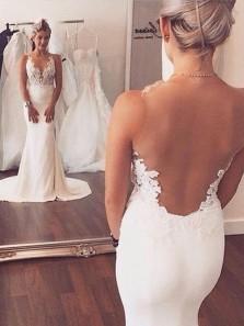 Elegant Sexy Mermaid White Long Wedding Dress with Appliques