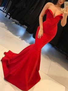 Sexy Mermaid Sweetheart Open Back Red Elastic Satin Long Prom Dresses,Evening Party Dresses
