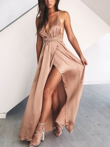 Sexy V Neck Spaghetti Straps Cross Back Brown Satin Long Prom Dresses with Side Slit
