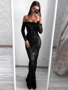 Elegant Mermaid Off the Shoulder Open Back Black Sequins Long Prom Dresses,Evening Party Dresses