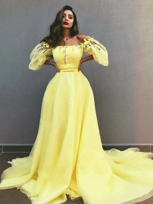 Romantic A-Line Off the Shoulder Yellow Tulle Long Prom Dresses with Appliques,Pageant Dresses ,Formal Party Dresses