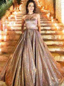 Shiny Ball Gown Sweetheart Open Back Gold Sequins Long Prom Dresses with Pockets,Quinceanera Dresses,Pageant Dresses,Sweet 16 Party Dresses