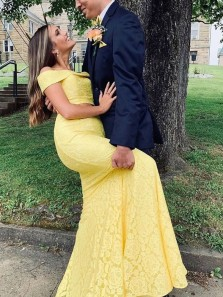 Charming Mermaid Two Piece Off the Shoulder Yellow Lace Long Prom Dresses,Formal Evening Party Dresses