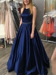 Classy A-Line Halter Navy Blue Satin Long Prom Evening Dresses with Beading