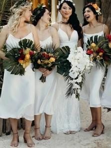 Simple Sheath Cowl Neck Spaghetti Straps White Tea Length Bridesmaid Dresses Under 100