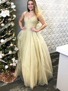 Glitter A-Line V Neck Spaghetti Straps Champagne Sparkly Tulle Long Prom Dresses