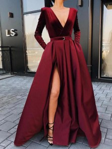 Vintage A-Line V Neck Long Sleeve Burgundy Velvet and Satin Long Prom Dresses with Side Split,Evening Party Gown