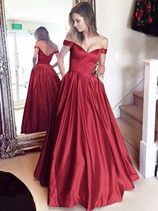 Ball Gown Off the Shoulder Dark Red Satin Long Prom Dresses with Pockets