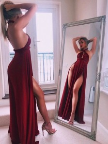 Sexy A-Line Halter Backless Burgundy Chiffon Double Slits Prom Dresses,Evening Party Dresses