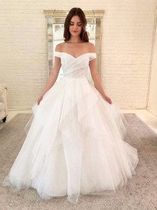Ball Gown Off the Shoulder White Tulle Wedding Dresses