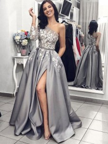 A-Line One Shoulder Open Back Grey Satin Long Prom Dresses with White Appliques Pockets,Formal Party Dresses