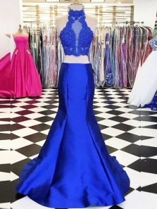 Fashion Two Piece Halter Royal Blue Satin Long Prom Dresses,Lace Evening Party Dresses