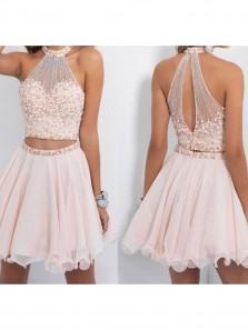 Cute Halter Two Piece Homecoming Dresses,Beaded Bodice Short Prom Dresses,Sparkly Cocktail Dresses HC0059