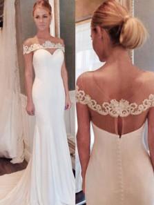 Elegant Off the shoulder Mermaid Long Wedding Dress with Court Train