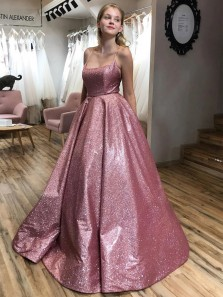 Glitter Ball Gown Scoop Neck Cross Back Blush Sequins Satin Long Prom Dresses,Formal Evening Party Dresses