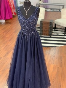 Charming A-Line V Neck Open Back Navy Blue Tulle Long Prom Dresses with Beading,Formal Party Dresses