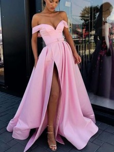 Stunning A-Line Off the Shoulder Open Back Pink Satin Long Prom Dresses,Evening Party Gown